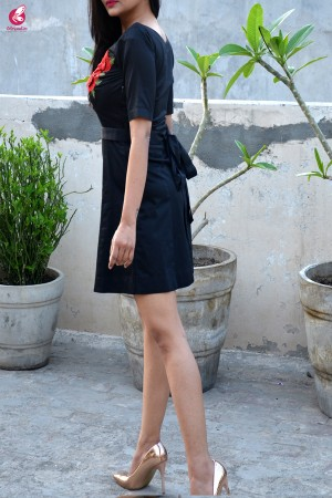 Black Short Panels Half Sleeves Dress