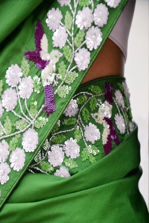 Green Handwork Pure Silk Saree