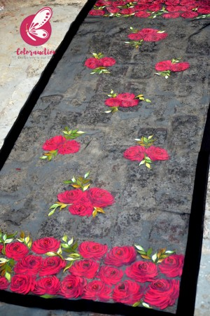 Black Pure Organza Roses Floral Hand painted Stole