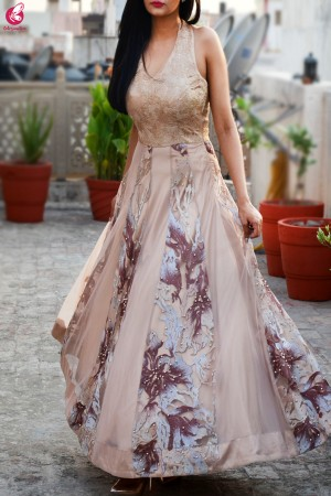 Cream Padded Backless Embroidered Dress