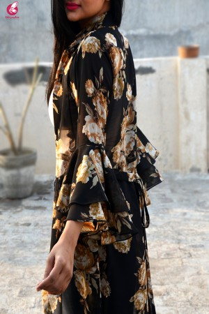 Black Printed Georgette Quarter Sleeves Long Shrug