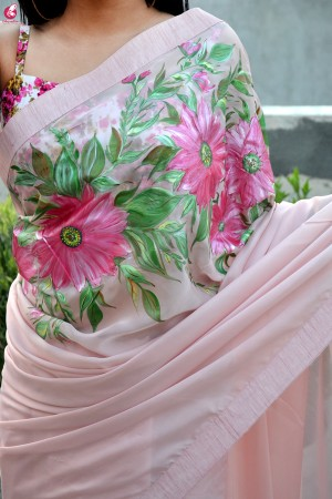 Light Pink Hand-painted Pure Silk Chiffon Saree