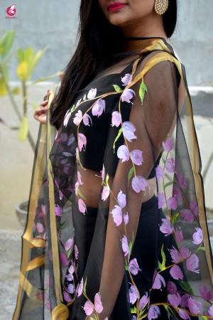 Black Organza Handpainted Floral Stole