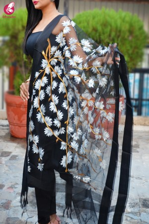 Black Organza Handpainted Floral White Stole