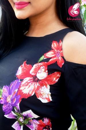 Black Modal Rayon Patched Straight Kurti