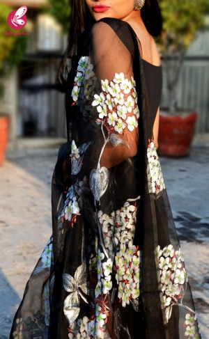 Black Organza Hand-painted Floral Stole