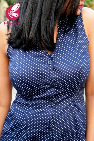 Navy Blue Printed Sleeveless Shirt