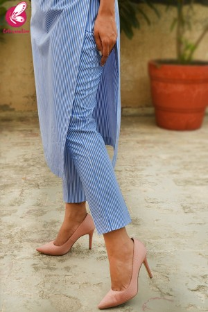 Blue Stripes Cotton Kurti Set
