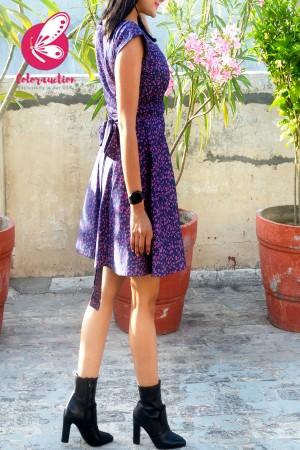 Blue Printed Denim Cap Sleeves Short Dress