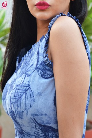 Blue Printed Bubble Crepe Sleeveless Front Slit Kurti