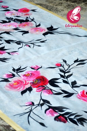 White Pure Organza Pink Roses Handpainted Floral Stole
