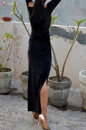Black Padded Velvet Maxi Cocktail Dress