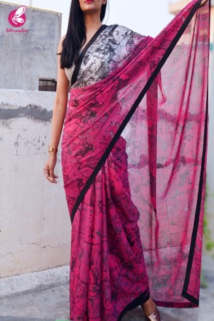 Grey and Pink Printed Georgette Saree