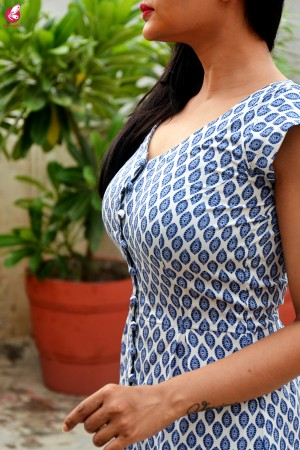 White & Blue Printed Crepe Kurti with White Chikankari Full Lining Cotton Palazzo