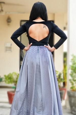 Black Velvet Padded Floor Length Dress