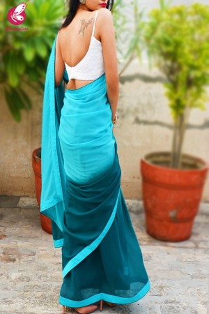 Teal Green and Blue Double Shaded Georgette Saree