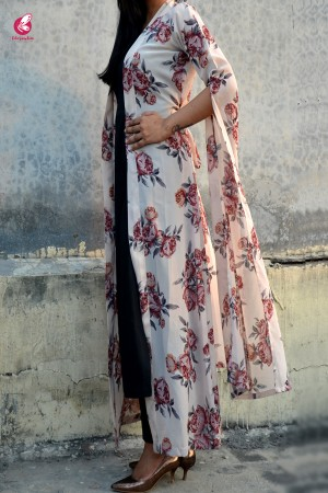 Light Cream Georgette Printed Floral Shrug