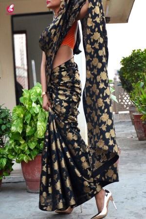 Black Chanderi Zari Woven Saree