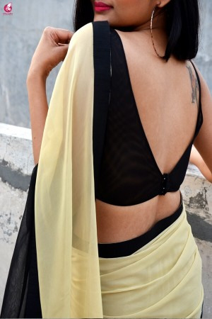 Double Shaded Georgette Black Cream Saree