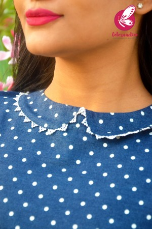 Blue Denim Printed A-Line Kurti Dress