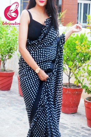 Black Polka Dots Georgette Ruffle Black Satin Taping Saree