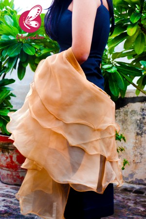 Peach Brown Pure Organza Satin Taping Three-Tier Ruffle Party Wear Stole
