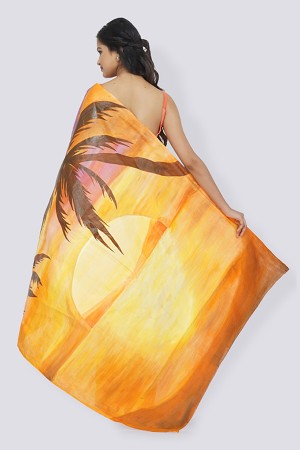 Light Peach Organdy Handpainted Saree