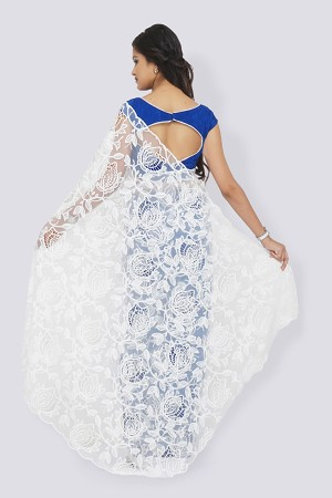 Blue & White Pure Crepe Net Saree