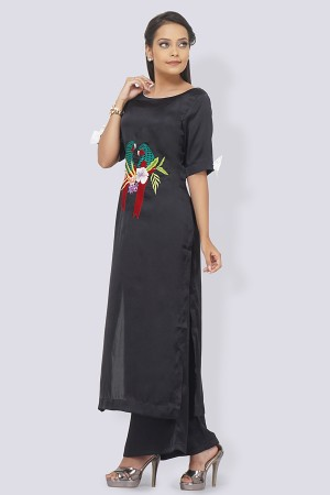 Black Crepe Embroidered Straight Kurti Set
