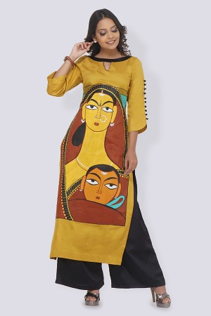 Mustard Cotton Hand-Painted Straight Kurti