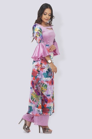 Light Purple Satin Printed A- Line Kurti Set