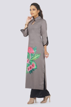 Grey Cotton Hand-Painted Straight Kurti