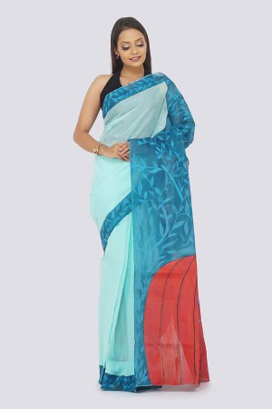 Sky Blue Organdy Handpainted Saree