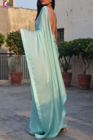 Sea Green Silk Georgette Saree