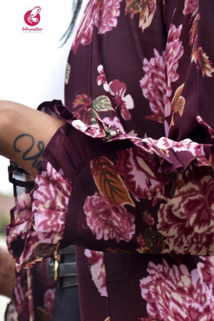 Mauve Georgette Printed Floral Shrug