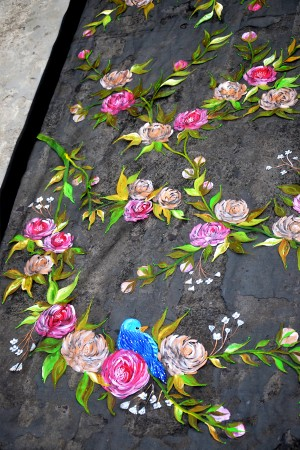 Black Organza Multicoloured Floral Hand painted Stole
