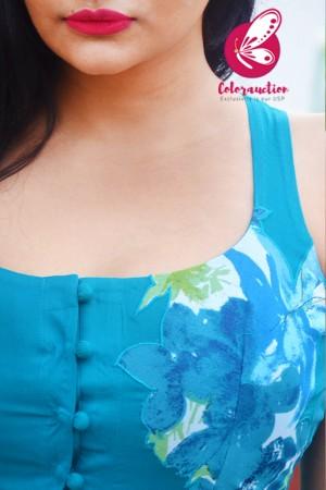 Sky Blue Modal Rayon Sleeveless Patch Work Kurti