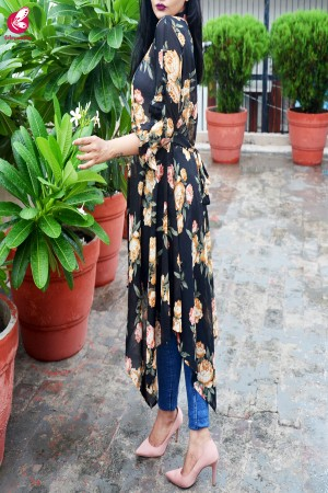 Black Printed Georgette Long Shrug