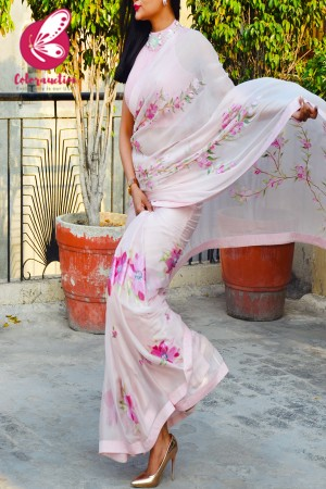 Baby Pink Hand-painted Pure Silk Chiffon Saree