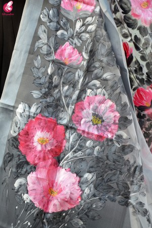 Grey Organza Hand painted Floral Stole
