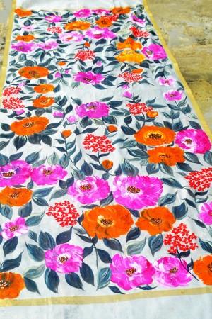 Off White Pure Organza Multicoloured Floral Stole