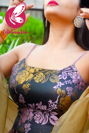 Mauve & Golden Brocade Silk Padded Strappy Kurti with Mauve Cotton Silk Pants and Golden Double Layer Ruffle Stole