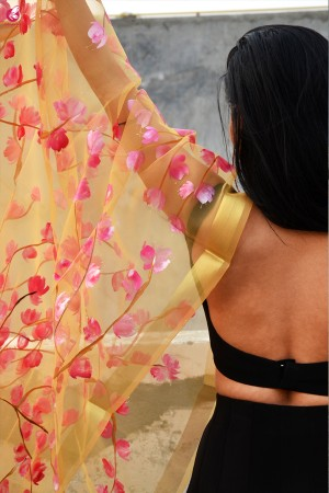 Golden Organza Handpainted Floral Stole