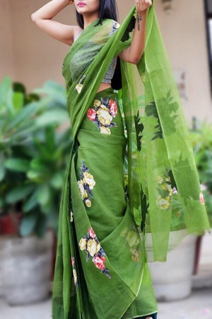 Olive Green Organdy Applique Floral Saree