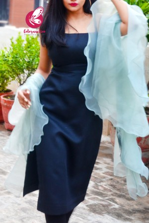 Ice Blue Pure Organza Satin Taping Three-Tier Ruffle Party Wear Stole