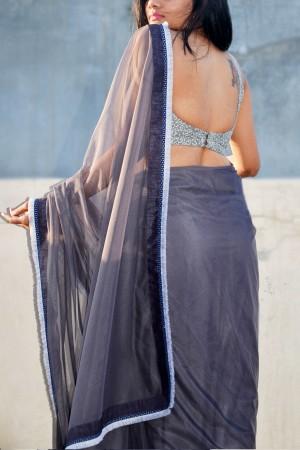 Grey Net Tassel Lace Border Saree