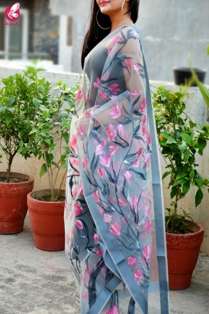 Grey Organza Hand painted Pink Floral Stole