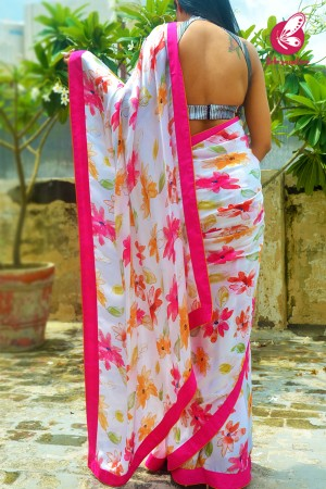 White Multicoloured Printed Floral Satin Georgette Dupion Taping Saree