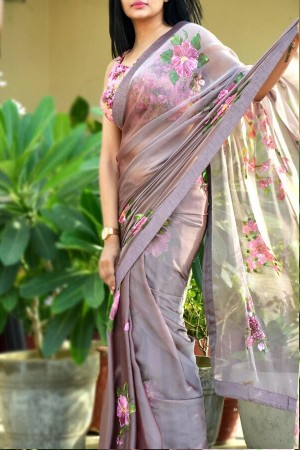Mauve Hand Painted Saree