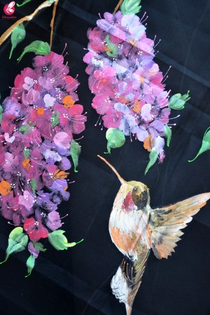 Black Organza Hand painted Humming Bird Floral Stole